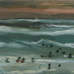 Small Bath At Les Sables - 20x80cm - Marc GOLDSTAIN 2013 - Acrylic On Canvas - Seascape - Holydays - Contemporary Painting