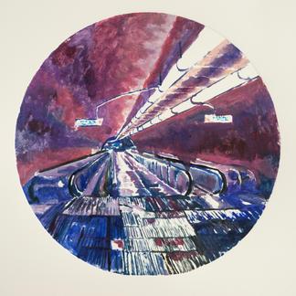Violet Opera 1 Monotype - Diam 25 - Marc GOLDSTAIN 2014 - Oil On Paper - Tube Corridor - Urban Landscape