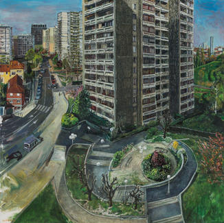 Capsulerie Street - 150x150cm - Marc GOLDSTAIN 2014 - Oil On Linen - Bagnolet - Paris Suburb - Housing - Building - Garden - Contemporary Painting