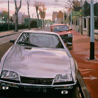 The Big Cx - 130x197cm - Marc GOLDSTAIN 2001 - Oil On Canvas - Paris Suburbs - St. Maur - Red Sidewalk - Twillight - Citroen Car - Railroad - Realistic Painting - Contemporary Painting