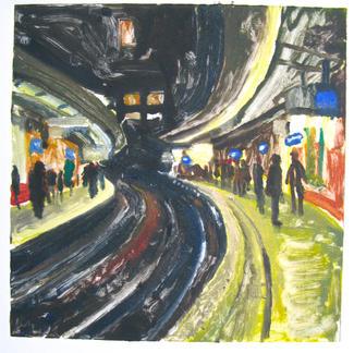 Cite U Paris 2 Monotype - 20x20cm - Marc GOLDSTAIN 2014 - Oil On Paper - Metro Station - Urban Landscape