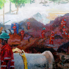 Twelve Knights Belo Horizonte - 16x27cm - Marc GOLDSTAIN 2013 - Acryl On Canvas - Workers - Worksite - Brasil - Contemporary Painting
