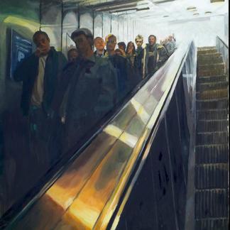 Descent 1 - 195x130cm - Marc GOLDSTAIN 2008 - Oil On Canvas - Escalator - Les Halles - Urban Life - Paris Subway - Rer - Comtemporary Painting