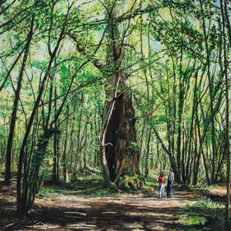 The Explorers - 197x130cm - Marc GOLDSTAIN 2014 - Oil On Canvas - French Forest - Realistic Painting - Hollow Tree - Contemporary Art