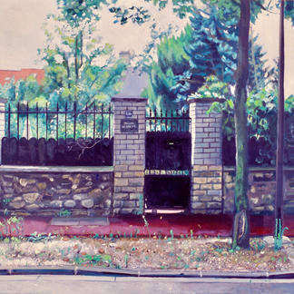 White House Sidewalk - 73x92cm - Marc GOLDSTAIN 2004 - Oil On Canvas - Paris Suburb - St Maur - Urban Landscape - Contemporary Art - Realistic Painting