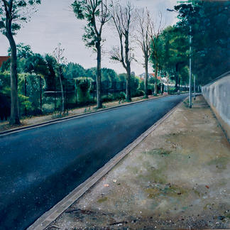 Sidewalk - 97x146cm - Marc GOLDSTAIN 2004 - Acrylic On Canvas - Paris Suburb - Urban Landscape - Contemporary Painting