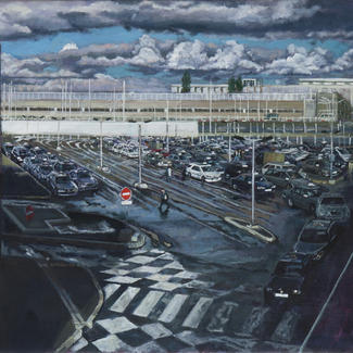 Orly Sans Becaud - 50x100cm - Marc GOLDSTAIN 2014 - Oil On Canvas - Taxi Parking - Airport - Urban Landscape Contemporary Painting