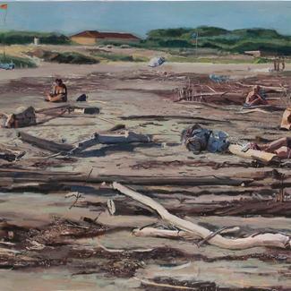 Big Weird Lido Beach - 80x240cm - Marc GOLDSTAIN 2012 - Acrylic On Canvas - Seascape - Bathers - Family - Venice Beach - Lido - Driftwood - Contemporary Painting