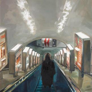 Jedi'S Return - 50x40cm - Marc GOLDSTAIN 2009 - Oil On Canvas - Escalator - Urban Life - Paris Subway - Pedestrian - Rer - Metro - Comtemporary Painting