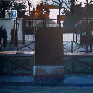 Electrical Cabinet Andre Citroen Park - 73x92cm - Marc GOLDSTAIN 2002 - Acrylic On Canvas - Urban Landscape - Paris - Realistic Painting - Contemporary Painting