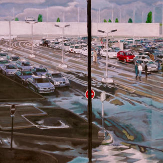 Orly Canaletto - 97x130cm - Marc GOLDSTAIN 2005 - Oil On Canvas - Urban Landscape - Paris Suburbs - Realistic Painting - Airport Taxi Park - Contemporary Art