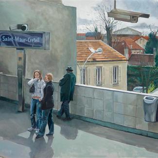 Passengers At Saint Maur Créteil - 81x100cm - Marc GOLDSTAIN 2009 - Oil On Canvas - Urban Landscape - Houses - Paris Suburbs - Rer - Comtemporary