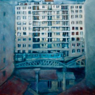 Aerial Metro - Marc GOLDSTAIN 1997 - Oil On Canvas - Paris