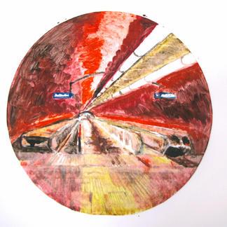 Red Opera 2 Monotype - Diam 25 - Marc GOLDSTAIN 2014 - Oil On Paper - Tube Corridor - Urban Landscape