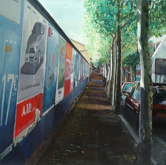 Poster Wall In St. Maur - 97x146cm - Marc GOLDSTAIN 2005 - Oil On Canvas - Urban Landscape - Paris Suburbs - Realistic Painting - Street - Cars - Contemporary Art