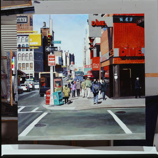 Chinatown Baxter St - 150x150cm - Marc GOLDSTAIN 2003 - Oil On Canvas - New York - Manhattan - Urban Landscape - Street Life - Passers By - Zebra - Realistic Painting - Contemporary Artjpeg