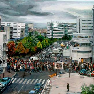 Assistance Publique - 197x240cm - Marc GOLDSTAIN 2012 - Oil On Canvas - Rue Leblanc - Paris - Urban Landscape - Tramway - Cars - Pedestrians Crossing - Architecture - Hegp - Demonstration - Contemporary Painting