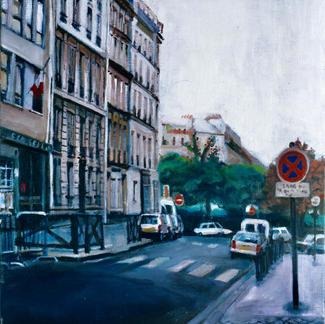 Street Near Place Clichy - 55x55cm - Marc GOLDSTAIN 2000 - Oil On Canvas - City Sign - Paris - Buildings - Urban Landscape - Realistic Painting - Contemporary Art