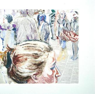 Bun Girl 3 Monotype - 15x20cm - Marc GOLDSTAIN 2014 - Oil On Paper - Portraits - Street Life