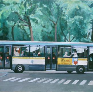 Bus On Zebra - Marc GOLDSTAIN 1999 - Oil On Canvas - Paris