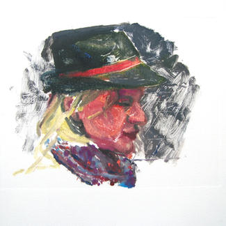 Hat Girl 1 Monotype - 15,5x20cm - Marc GOLDSTAIN 2014 - Oil On Paper - Portraits - Street Life