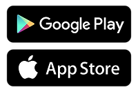 Google Play and App Store logos.