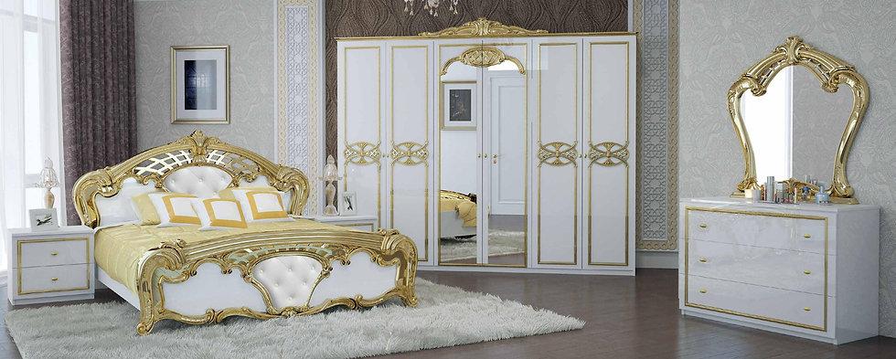 Schlafzimmer Set Eva weiß-gold