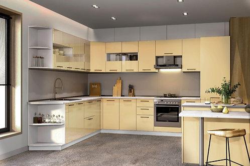 Küche Hochglanz Vanile ohne Geräte