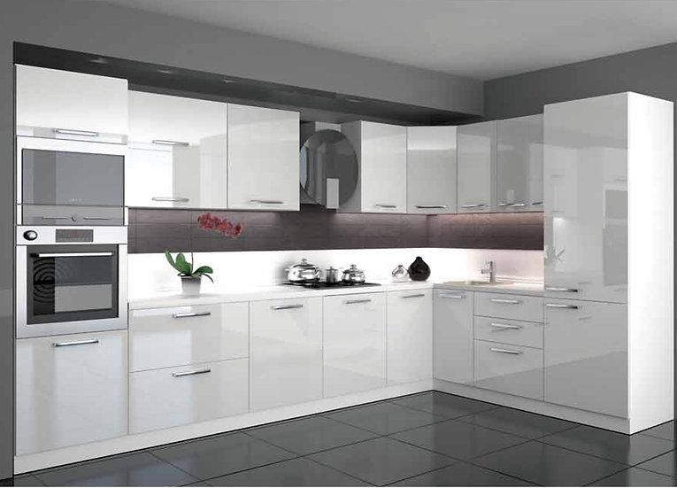 Küche Hochglanz weiß mit Geräte