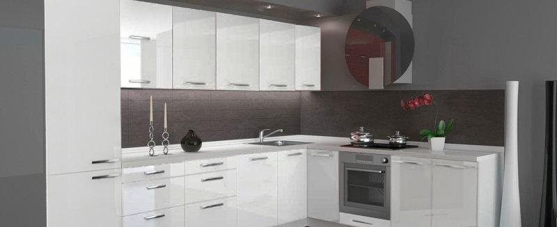 Küche Hochglanz beige ohne Geräte