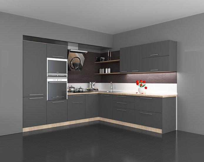 Küche Grau mat ohne Geräte