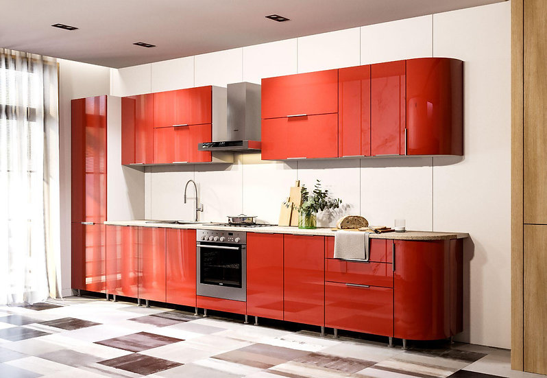 Küche Hochglanz rot ohne Geräte