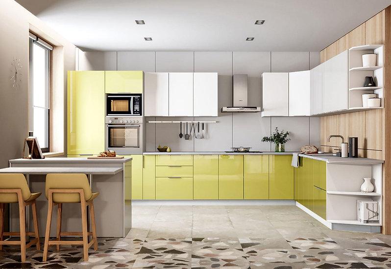 Küche Hochglanz weiss-grün ohne Geräte