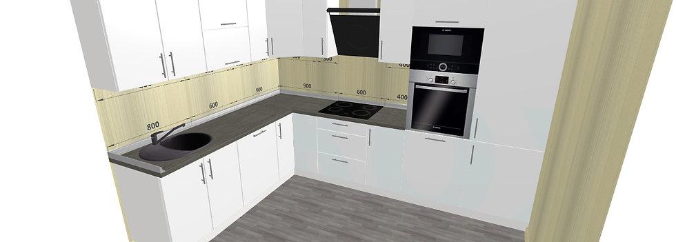 Küche Hochglanz weiß nach Maß mit Geräten