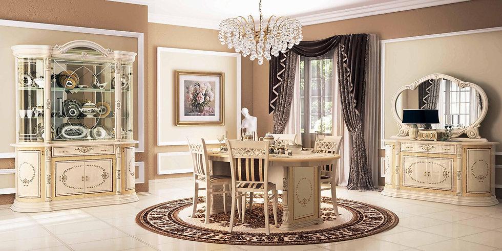 Luxus Esszimmer Set. Hochglanz beige