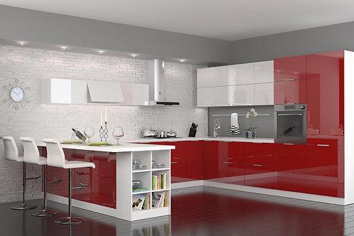 Küche Hochglanz Weiß-rot ohne Geräte