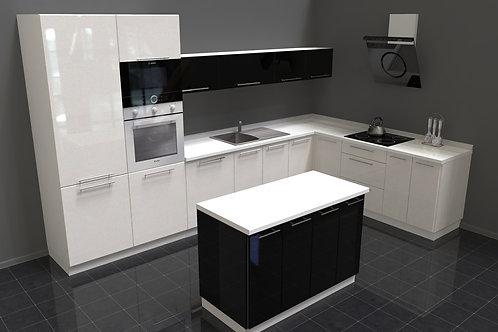 Küche Hochglanz weiss-schwarz ohne Geräte