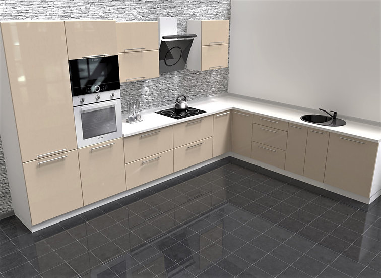 Küche Hochglanz vanille ohne Geräte