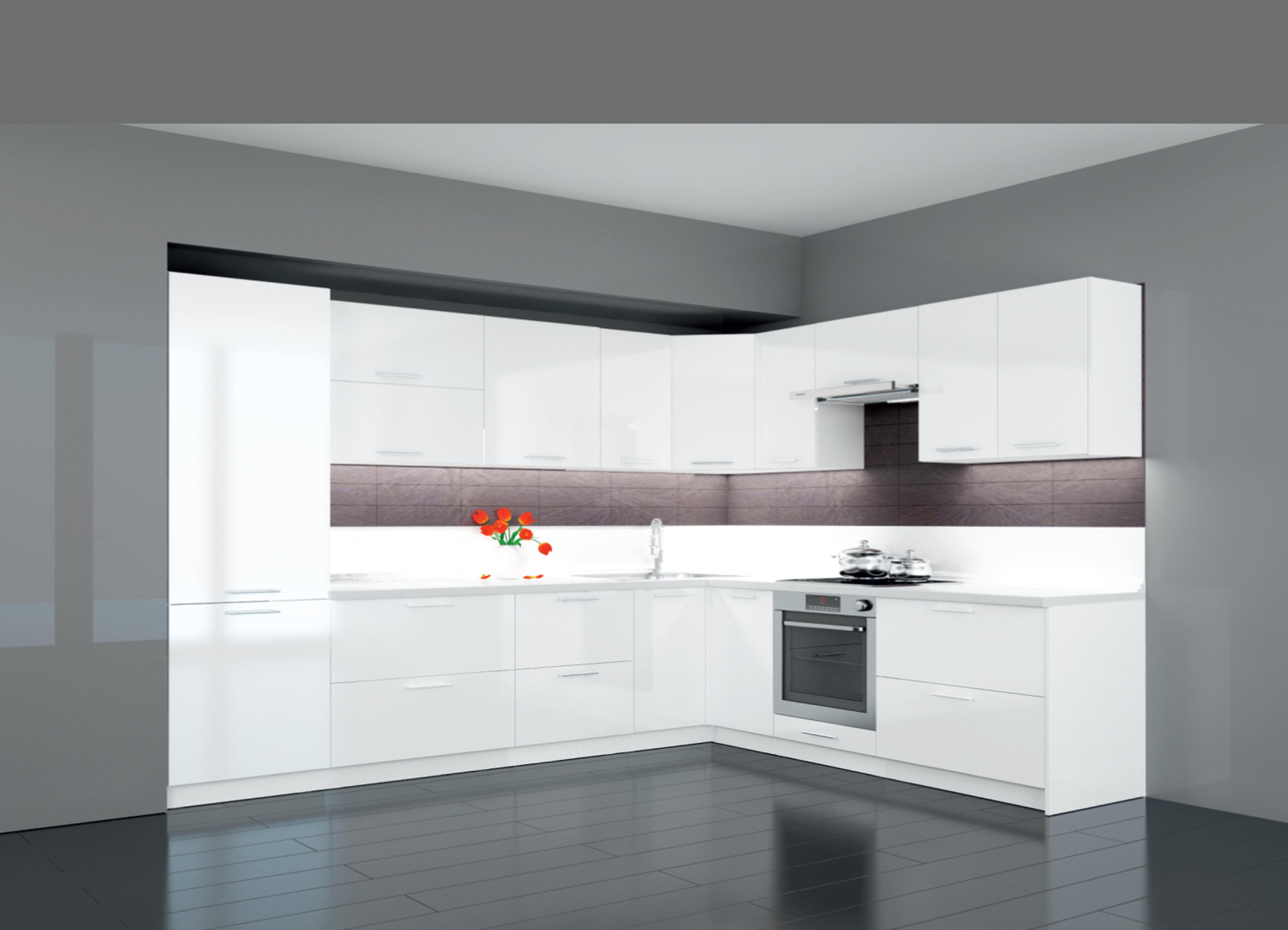 Küche L Form Hochglanz Latte ohne Geräten.