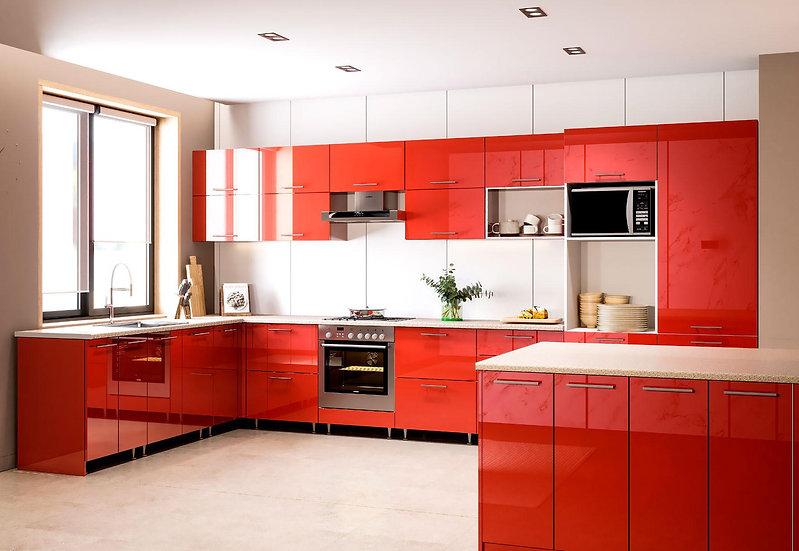 Копия Küche Hochglanz rot ohne Geräte
