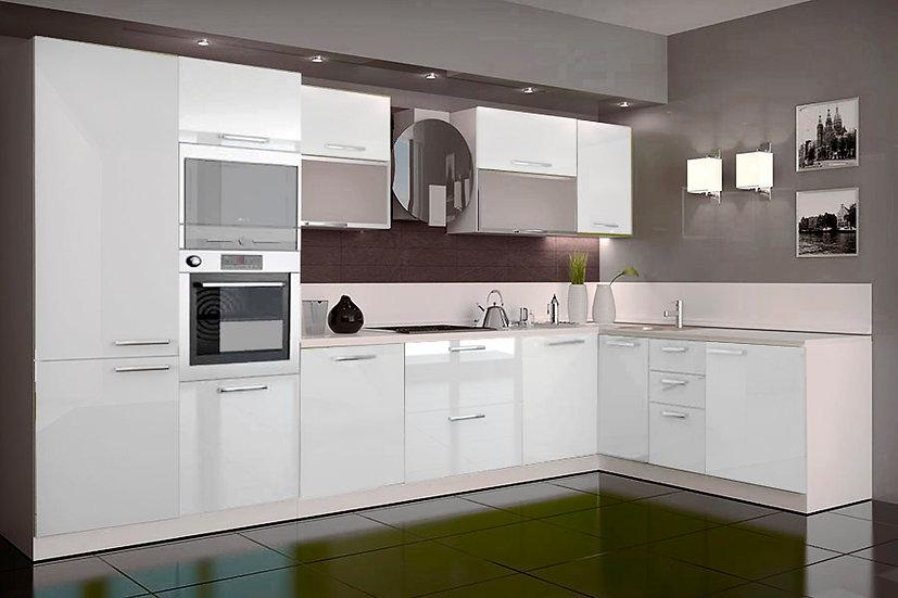 Küche Hochglanz beige,weiß ohne Geräte