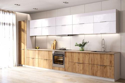 Küche Hochglanz weiss -Eiche ohne Geräte