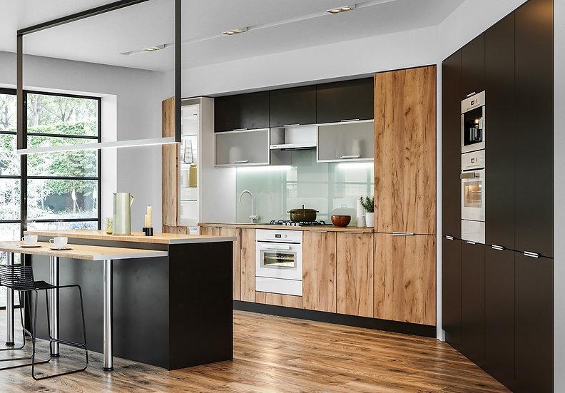 Küche Glanz grau -Eiche ohne Geräte