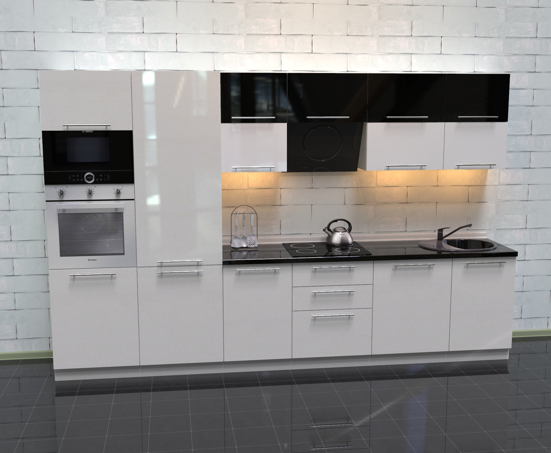 Küche Hochglanz weiß schwarz ohne Geräte