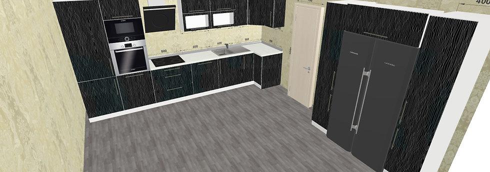 Küche Hochglanz Schwarz mit Geräten