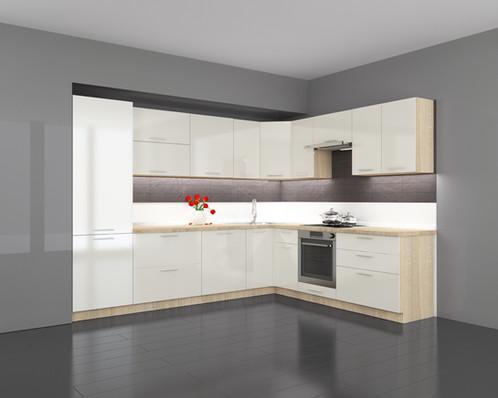 Küchen l form hochglanz  Küche L Form Hochglanz Latte ohne Geräten. | ksavien