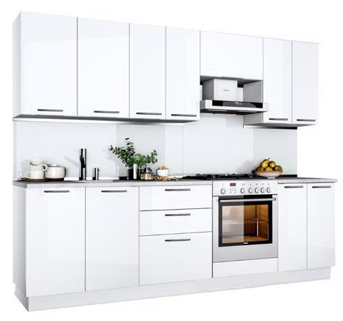 Küche Hochglanz weiss ohne Geräte