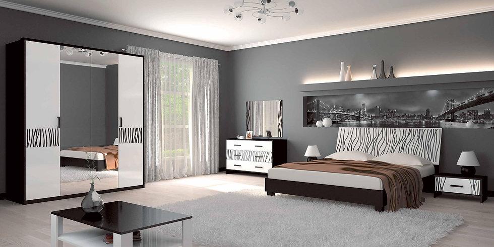 Schlafzimmer Set TerraBlack-WHite