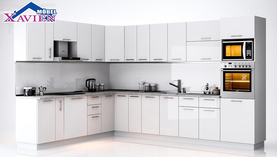 Küche Hochglanz weiss  Lackirt ohne E-Geräten.