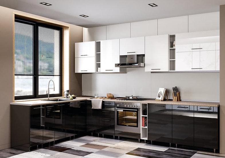 Küche Hochglanz schwarz-weiss ohne Geräte